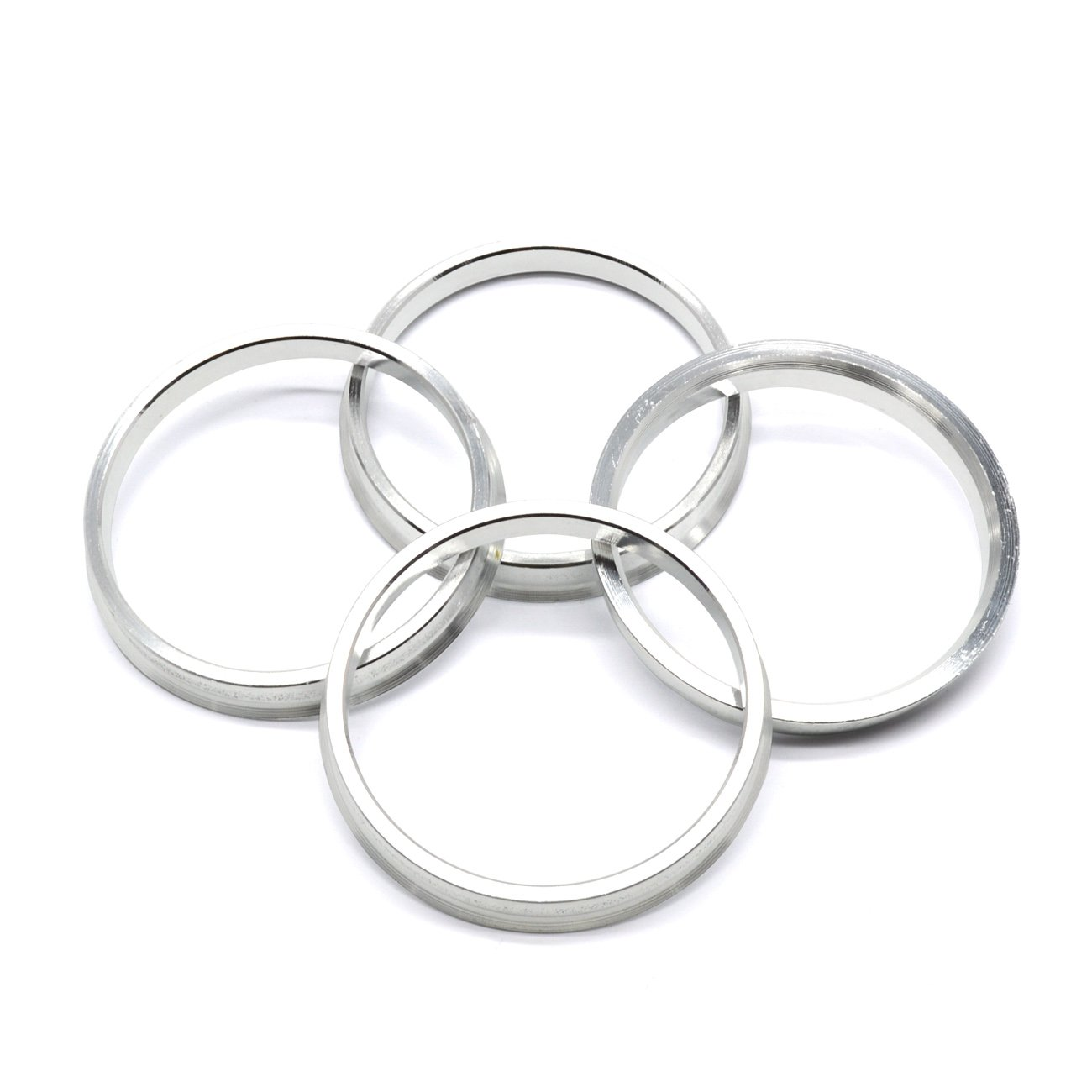 GoldenSunny 73.1mm OD to 66.1mm ID Silver Aluminum Hub Centric Rings - Pack of 4
