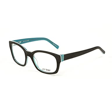 J.F. Rey Square Eyeglass Frames 51mm Black/Turquoise at Amazon ...