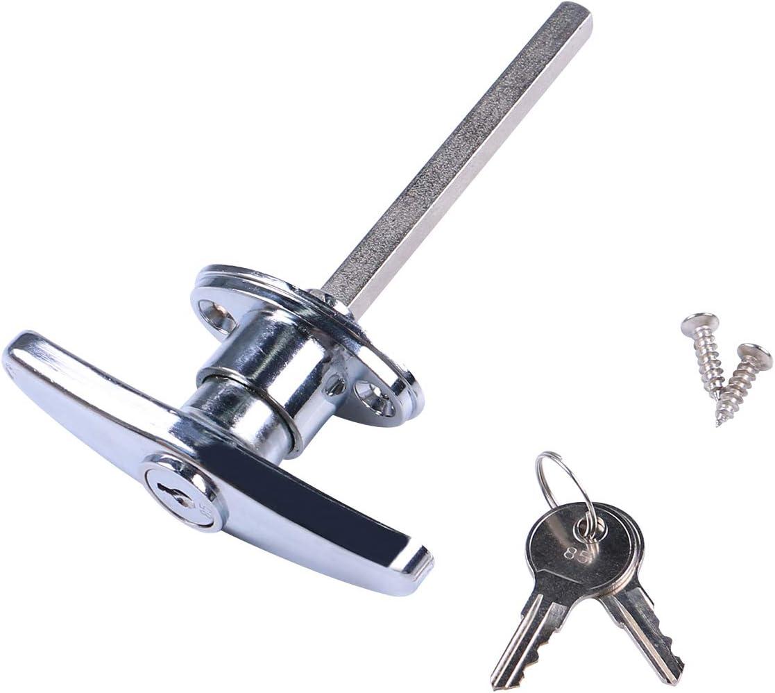Gorgeri Rear Fixing T Handle Lock Tool Box Garage Door Lock with Keys for Trailer Caravan Canopy Black