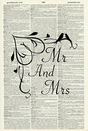 Wedding Love Gift - WEDDING GIFT ART PRINT -Black and White Art Print - LOVE BIRDS MR & MRS - VINTAGE ART - ANIMAL Art Print - Personalised Art Print - Vintage Dictionary Art Print - Wall Hanging - Book Print 476D