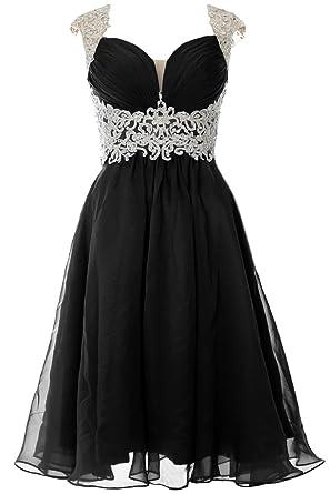 88131b64ecb2 MACloth Women Cap Sleeve Lace Chiffon Short Prom Dress Wedding Party Formal  Gown (US2,