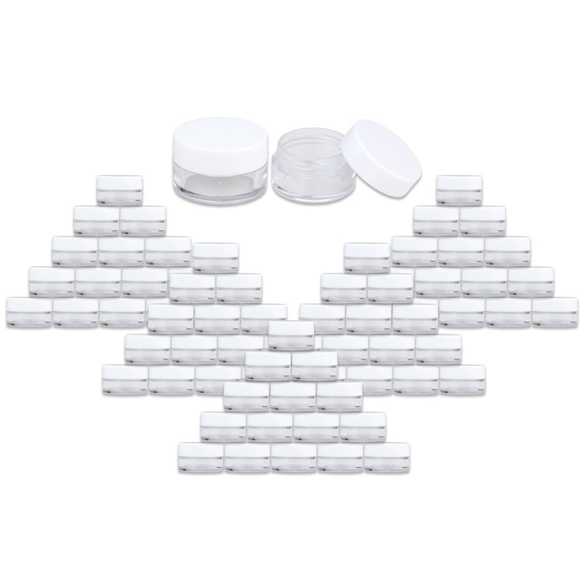 2400 Jars - Beauticom High-Graded 5 Grams/5 mL BPA Free Thick Clear Acrylic 100% NO LEAK Plastic Jars empty Container White Lid for Cosmetic, Lip Balm, Beads, Creams, Lotion, Liquids, Sample, Travel