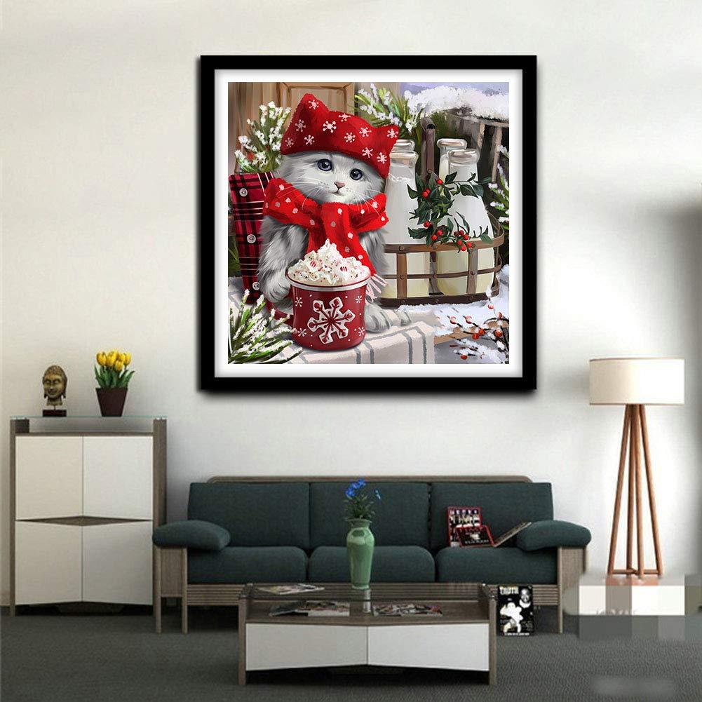 Broderie de Diamants Point de Croix en R/ésine D/écoration de Maison Salon Chambre Peinture par Adulte Chat 30X30cm Diamond Painting Kits complets