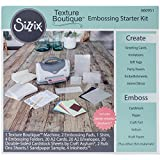 Sizzix Texture Boutique Starter Kit Manual Machine and Pair Pads, Mylar Shim, Embossing Folders Cardstock and More, 4 1/2 in (11.43 cm) Opening