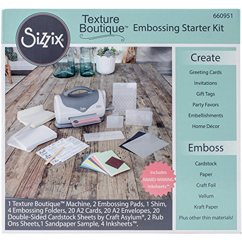 Sizzix Texture Boutique Starter Kit Manual Machine and Pair Pads, Mylar Shim, Embossing Folders Cardstock and More, 4 1/2 in (11.43 cm) Opening -