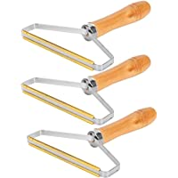 3pcs Portable Lint Remover, Wool Lint Remover, Wooden Clothes Lint Roller, Manual Carpet lint Remover