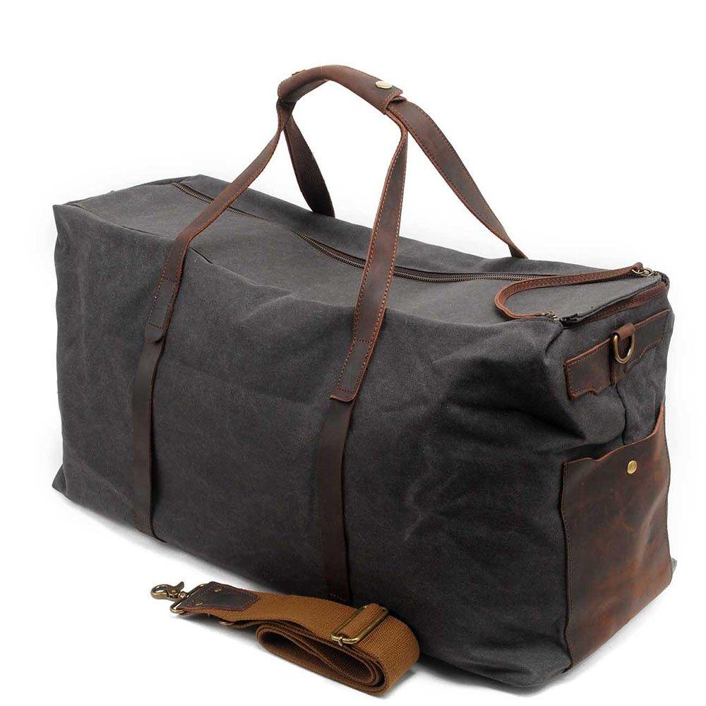 Color : Gray Travel Duffel Men Handbag Canvas Travel Bag Casual Batik Shoulder Bags Waterproof Luggage Storage Package Gym Sports Luggage Bag