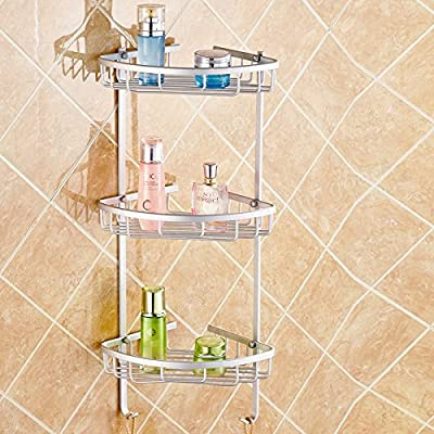 Hiquty Aluminium Wall Mounted Bathroom Corner Shower Caddies Storage Shelf Rack Holder ( 2 Layer )
