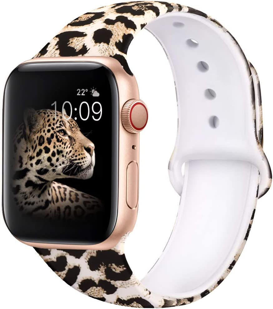 EXCHAR Compatible with Apple Watch Band 40mm 38mm Fadeless Pattern Printed Floral Bands Silicone Replacement Band for iWatch Series 6/5/4/3/2/1 for Women Men M/L Leopard 01