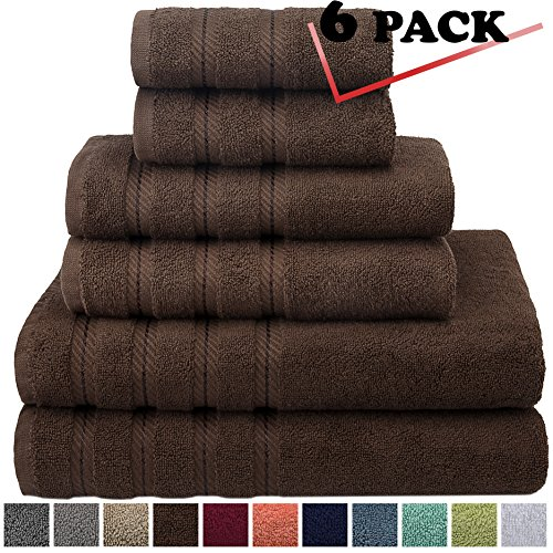 Bath Towel Chocolate (Premium, Luxury Hotel & Spa, 6 Piece Towel Set, Turkish Towels 100% Cotton for Maximum Softness and Absorbency by American Soft Linen, [Worth $72.95] (Chocolate Brown))