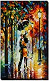 Picture Perfect International ''Dance Under The Rain'' by Leonid Afremov Giclee Stretched Canvas Wall Art, 18'' x 30'' x 1''