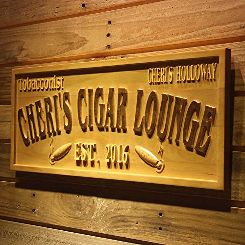 - ADVPRO wpa0416 Tobacconist Name Personalized Cigar Lounge Shop Wood Engraved Wooden Sign - Standard 23