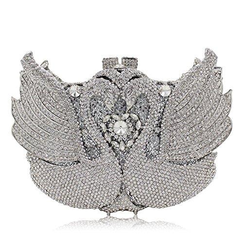 de Sculpt Luxe Sac Haute Soirée Swan Strass De Silver Soirée Dark Crystal Femmes Color Pochette Gold Bourse Qualité dYwtXzz