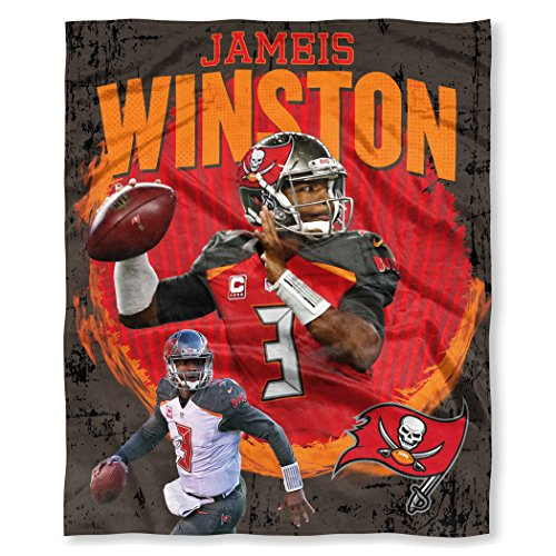 (The Northwest Company Officially Licensed NFL Tampa Bay Buccaneers Jameis Winston Players HD Silk Touch Throw Blanket, 50