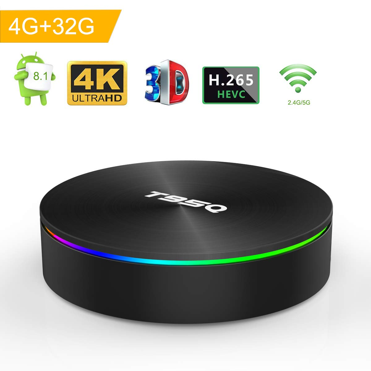 Android 8.1 TV Box, Android Box 4GB RAM 32GB ROM S905X2 Quad-Core Cortex-A53 Support 2.4G/5G WiFi/H.265 Decoding/4K Full HD Output/ HDMI2.0/ 100M Ethernet/ Bluetooth 4.1 Smart TV Box Turewell T95Q