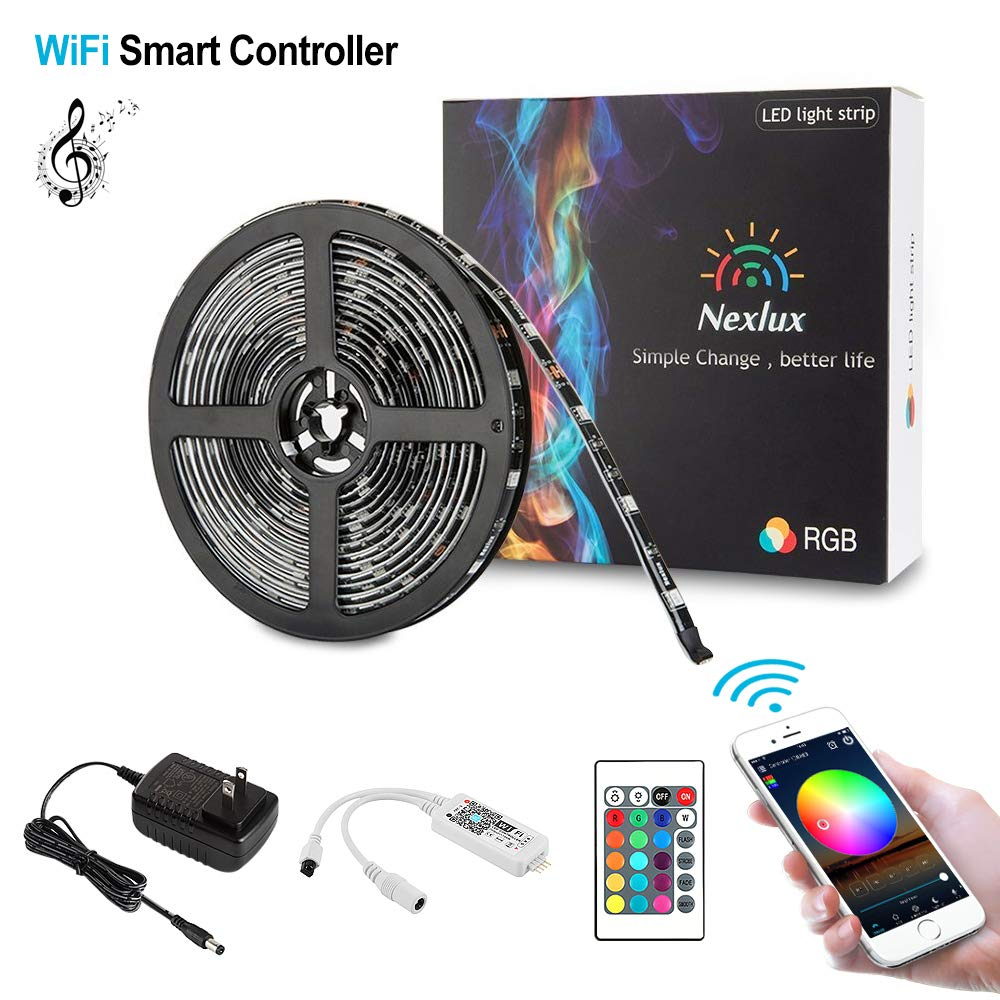 Nexlux LED Strip Lights WiFi Wireless Smart Phone Controlled Light Strip Kit 5050 LED Lights Working with Android and iOS System Alexa Google Assistant