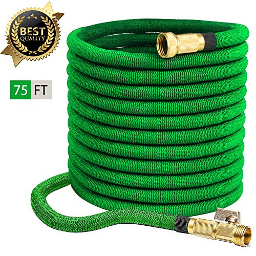 75ft Garden Hose Expandable Water Hose w/Extra Strength Fabric, 3/4″ Solid Brass Fittings, Kink Free, Flexible Expanding – Green