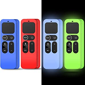 4Pack Silicone Case Cover Compatible for Apple TV 4K 5th, 4th Gen Remote,Remote Case Holder Skin for Apple TV Siri Remote Control Cover Glow in The Dark, Red+Blue+Glowgreen+Glowblue