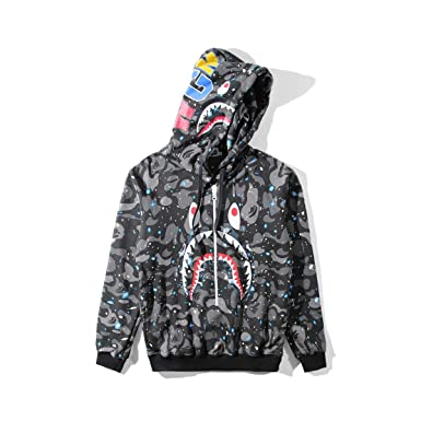 ee64f4795d58c Image Unavailable. Image not available for. Color: A Bathing Ape Camo Bape  Zip Shark Head Camouflage Hoodie Luminous Jacket Coat