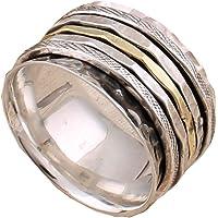 Anillos de plata de banda ancha para mujer,Three Tone Spinner Band Rings, Anxiety Ring for Meditaion, 925 Sterling…
