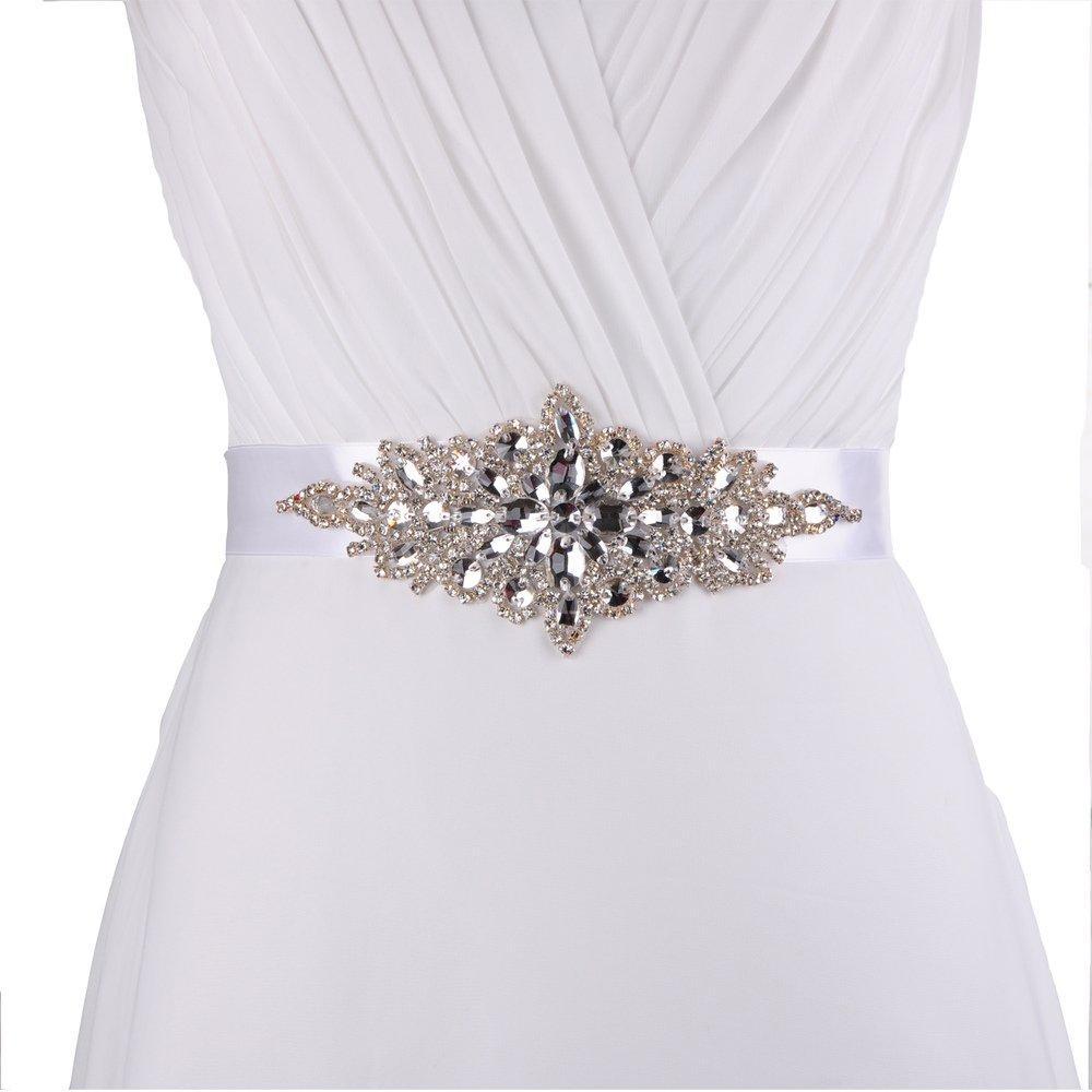 queendream insignias para fiesta de accesorios para vestido de guillotina para Prom noche trenzado cinturón color personalizado sash - Color blanco: ...