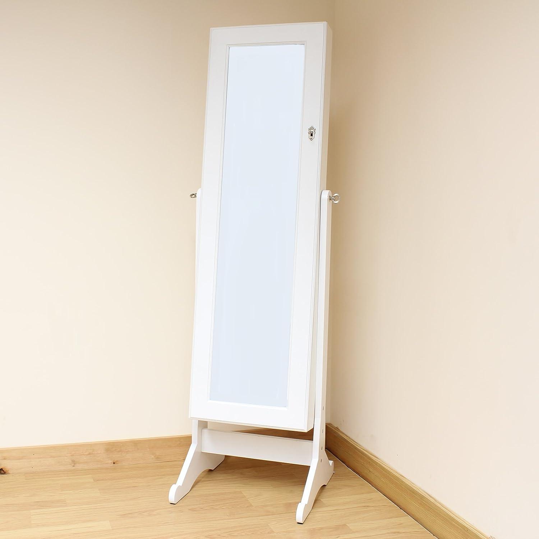 Hartleys White Floor Standing Bedroom Mirror U0026 Jewellery Cabinet:  Amazon.co.uk: Kitchen U0026 Home