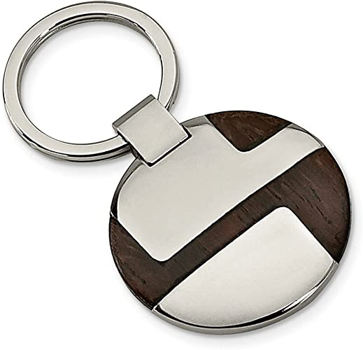 Stainless Steel Mens Accessory Key Rings Black Brushed Polished Black Acrylic Key Chain