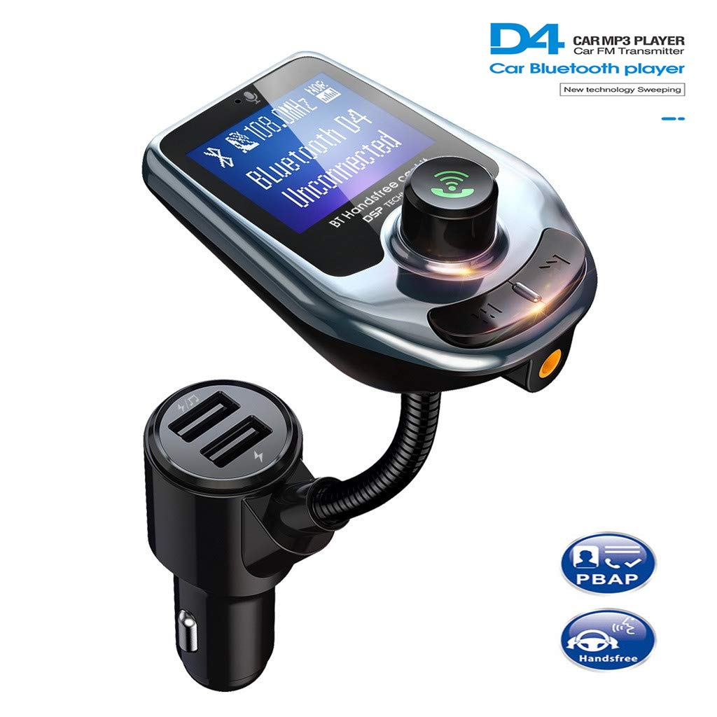 WELCOMEUNI Car Bluetooth 5.0 FM Transmitter,TF Card Mp3 Player, Handsfree Call/Music Adapter for Car,5V/3.1A& QC3.0 Dual USB Charging,Compatible for iPhone, iPad, Samsung and More (Black) by WELCOMEUNI