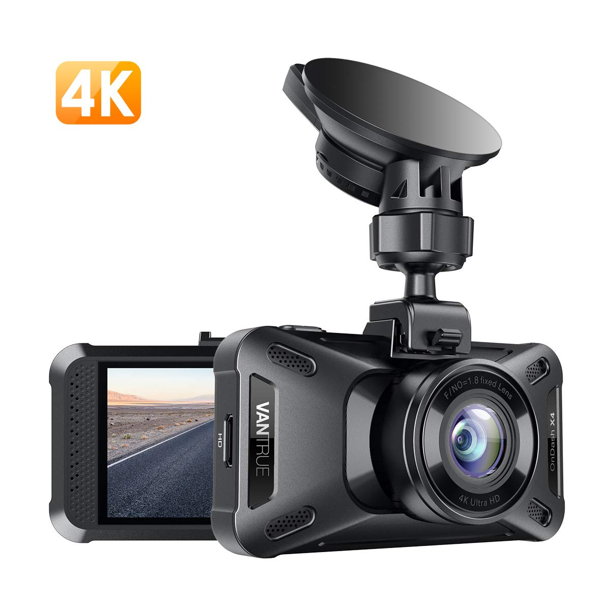 Vantrue X4 UHD 4K 3840X2160P @30fps Dash Cam, Super Capacitor Dash Camera 3'' LCD 160° Wide Angle Car Camera with Night Vision, 24Hs Parking Mode, Motion Detection, Time Lapse, WDR, Support 256GB Max