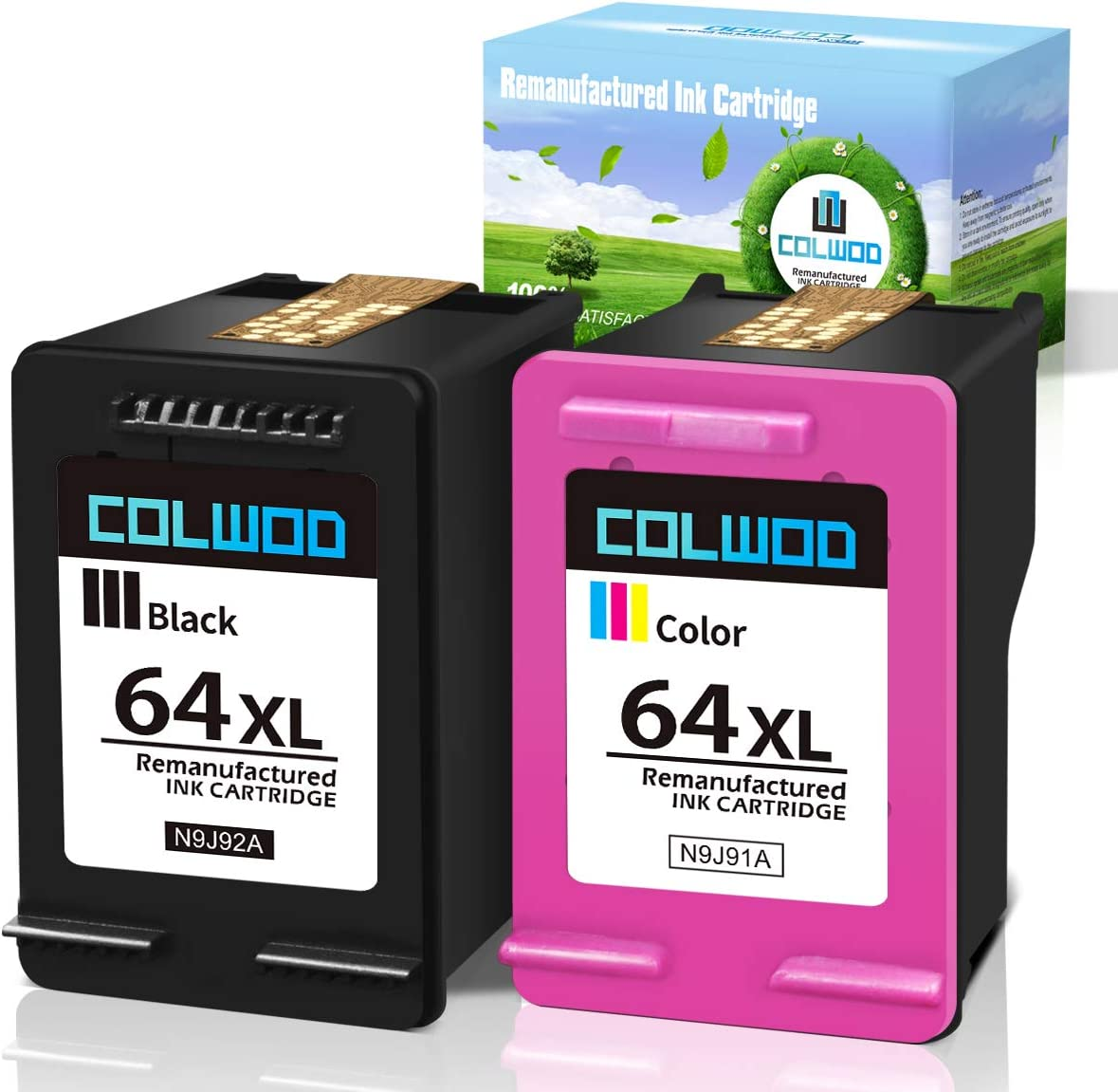 CLOWOD Remanufactured Ink Cartridges 64 Replacement for HP 64XL for Hp Envy Photo 7155 7855 6255 6220 7120 6252 6230 6258 7158 7130 7164 7858 7132 Envy 5542 Printer (1 Black 1 Tri-Color)