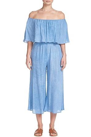 11914ab4332f Amazon.com  ELAN Women s Ruffled Off-Shoulder Culotte Romper  Clothing