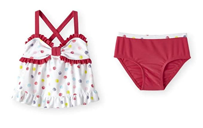 9336d9f46529e Koala Kids 2 Piece Ruffle Trimmed Babydoll Tankini Polka Dotted Swimsuit  Set (4T)