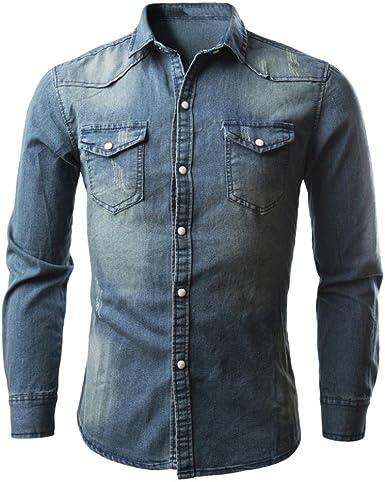 LMMVP Camisas para Hombres Moda Retro Personalidad Clásico Botón Ajustado Delgado Negocio Casual Camisetas de Manga Larga Camisa Vaquera Blusa Vaquera (M, Azul): Amazon.es: Ropa y accesorios
