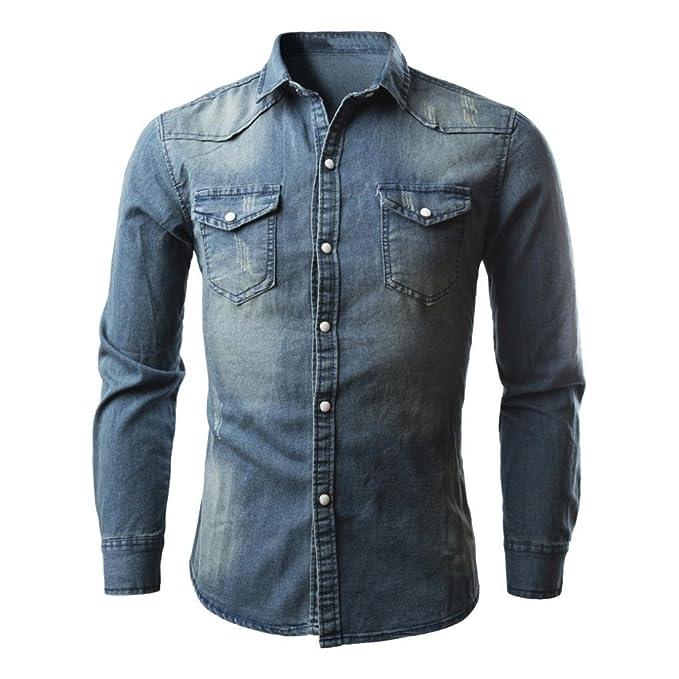 Camisas de Hombres,Dragon868 Casual Camisa de Manga Larga de Negocios Slim Fit Camisa Vaquera Blusa Para Hombres