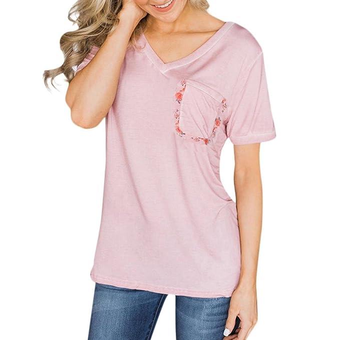 OYSOHE Frauen Sommer Tasche Tops V-Ausschnitt T-Shirt Patchwork Damen  Kurzarm Bluse Kleidung 580af9a07a