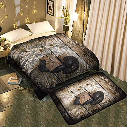 UNOSEKS-Home A Blanket and A Floor Mat Set Brown Old Boxing Gloves with a lace Over Old Wooden Wall Chic Pattern Anti-Static Blanket 50