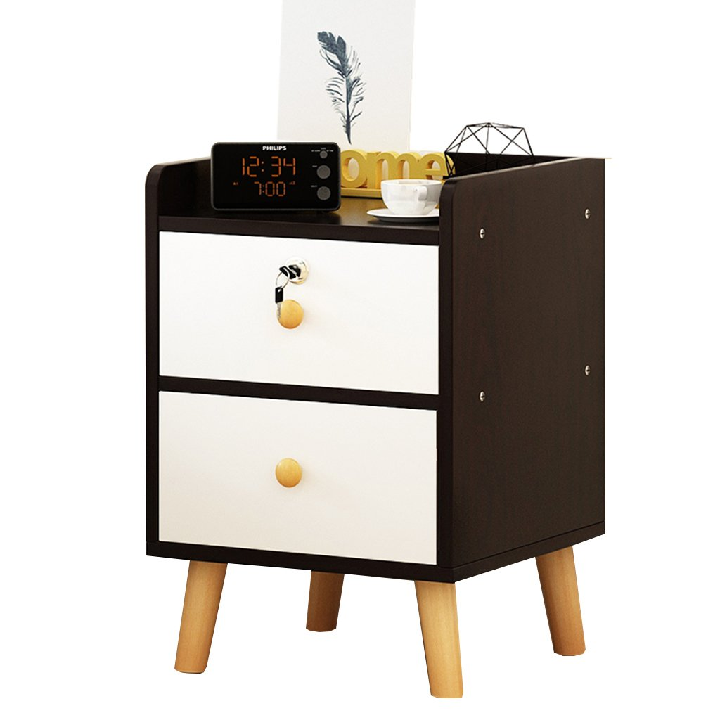 D 403953CM MEI XU Nightstand Bedside Table - White Black MDF Production Locker Living Room Bedroom Mini 1 2 Layer Space Lock Design Drawer [6 Styles and 4 Sizes] Table Nightstand