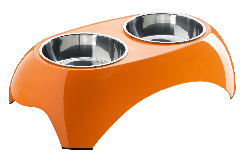 Hunter 91837 Melamin-Tisch mit 2 Näpfen Gr. L, 51 x 30 x 13.3 cm, orange