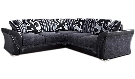 Marvelous Amazing Sofas New Large Shannon Corner 5 Seater Grey Black Forskolin Free Trial Chair Design Images Forskolin Free Trialorg
