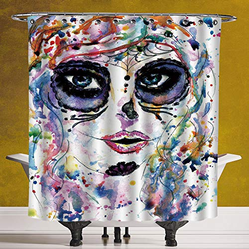Waterproof Shower Curtain 3.0 [ Sugar Skull Decor,Halloween Girl with Sugar Skull Makeup Watercolor Painting Style Creepy Decorative,Multicolor ] Waterproof Polyester Fabric Decorative Bath Curtain De