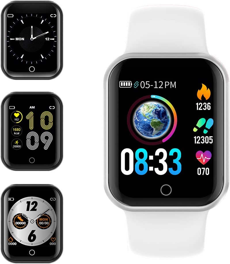 Smartwatch, KUNGIX Reloj Inteligente Impermeable IP68 Pulsera de Actividad Inteligente con Monitor de Sueño Pulsómetros Podómetro Contador de Caloría, para Hombre Mujer niños (Blanco)