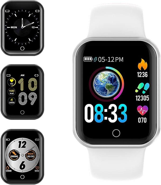 Smartwatch, KUNGIX Reloj Inteligente Impermeable IP68 Pulsera de Actividad Inteligente con Monitor de Sueño Pulsómetros Podómetro Contador de Caloría, para Hombre Mujer niños (Blanco): Amazon.es: Electrónica
