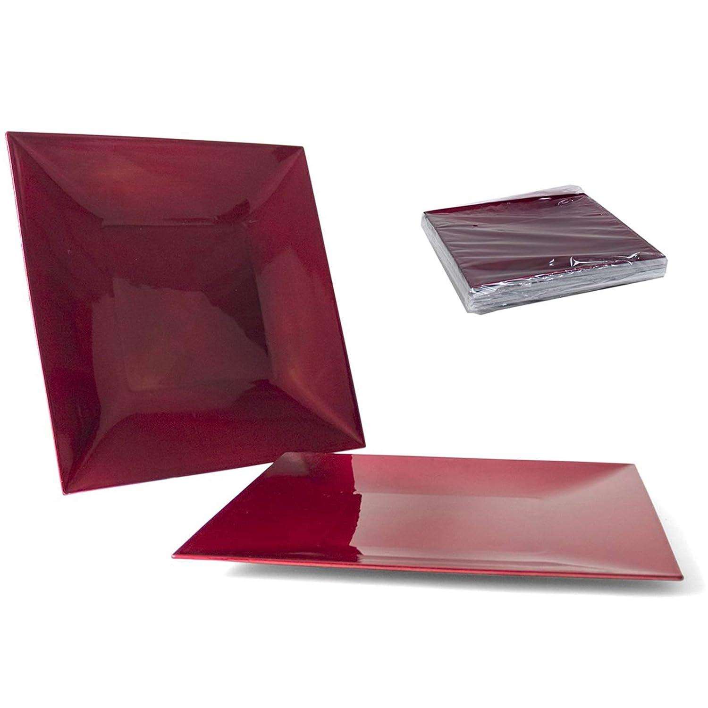 Aurora Store.it 12 Sottopiatti Rosso in plastica Rigida Quadrato 30 cm Bordo Liscio cenone sotto Piatto Capodanno Natale Cena Aperitivo
