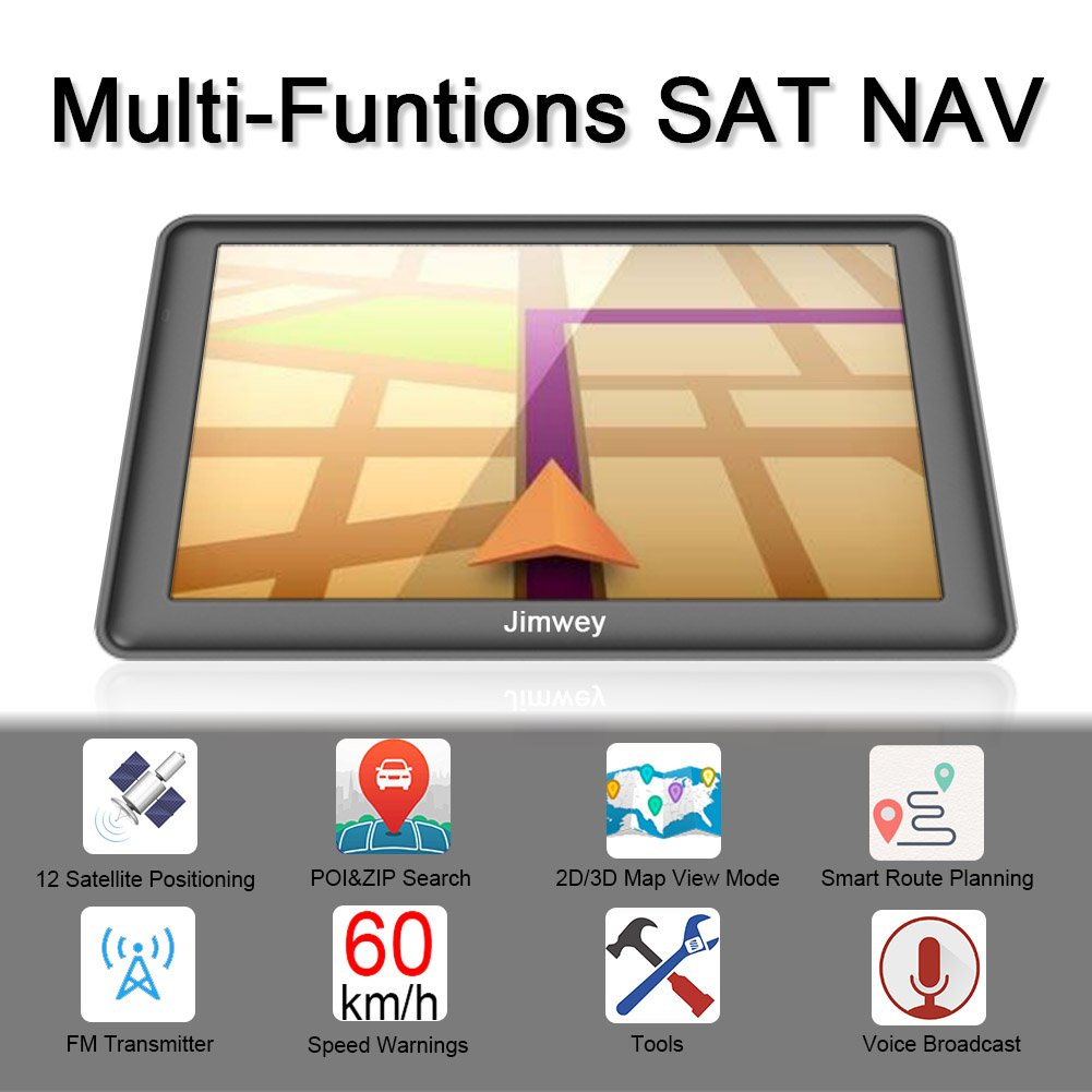 7 inch Bluetooth 8GB 256MB Jimwey Car Truck Lorry Satellite Navigator Device with Post Code POI Search Speed Camera Alerts with UK/&EU 2018 Maps Lifetime Free Update SAT NAV GPS Navigation System