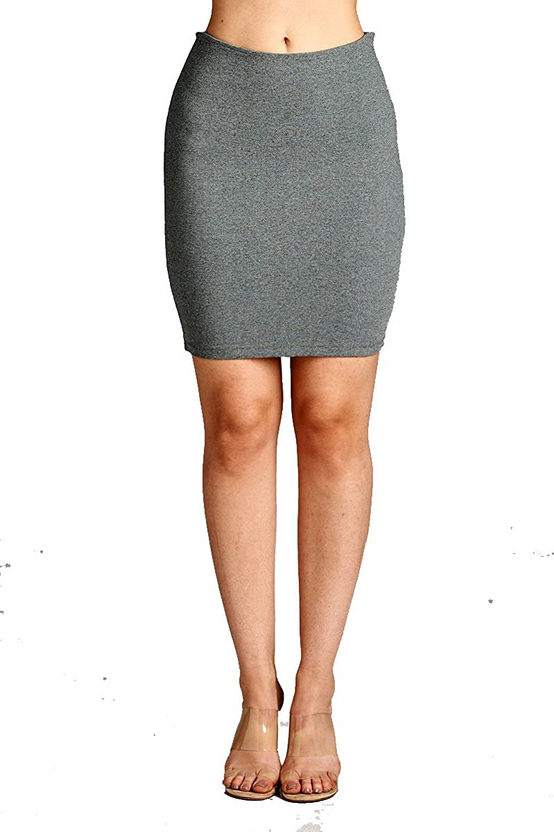2756h.grey YourStyle Stretch Bodycon Mini Pencil Ponte Skirt
