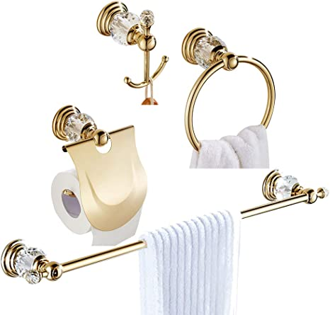 Amazon Com Wolibeer Gold Bathroom Accessories Crystal Toilet Paper Holder 24 Inch Towel Bar Round Towel Ring And Robe Hook 4 Pieces Bathroom Hardware Set Wall Mounted Kitchen Dining