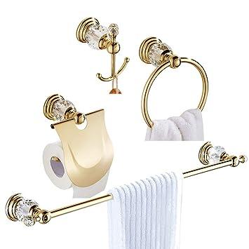 Accessori Bagno Best Lock.Womao Set Di Accessori Da Bagno In Oro Di 4 Pezzi Tutti In Lega Di Zinco Con Cristallo Portasalviette Portasalviette Portasalviette Portasalviette