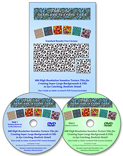 600 Clip (Plotter Art™ Seamless Texture Tiles Volume Three, 600 High Resolution Images on DVD-ROM with 51 Page PDF User Guide & Image Gallery - Standard Royalty Free License)