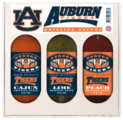 Tigers Ncaa Barbecue Sauce (Auburn Tigers NCAA Grilling Gift Set (12oz Cajun, 12oz Lime, 12oz Peach))