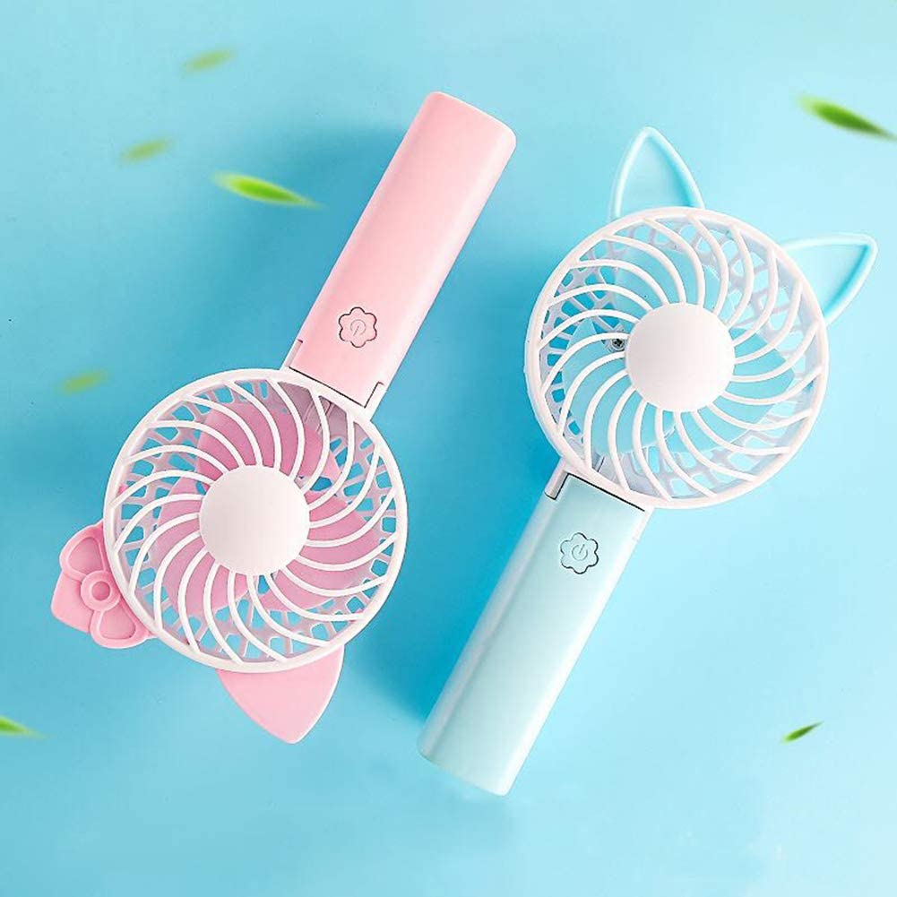 Camping Car Pink B Summer Portable Mini Cartoon Handheld Fan USB Rechargeable Cooling Fan Hand Cooler Suitable for Office Outdoor Travel